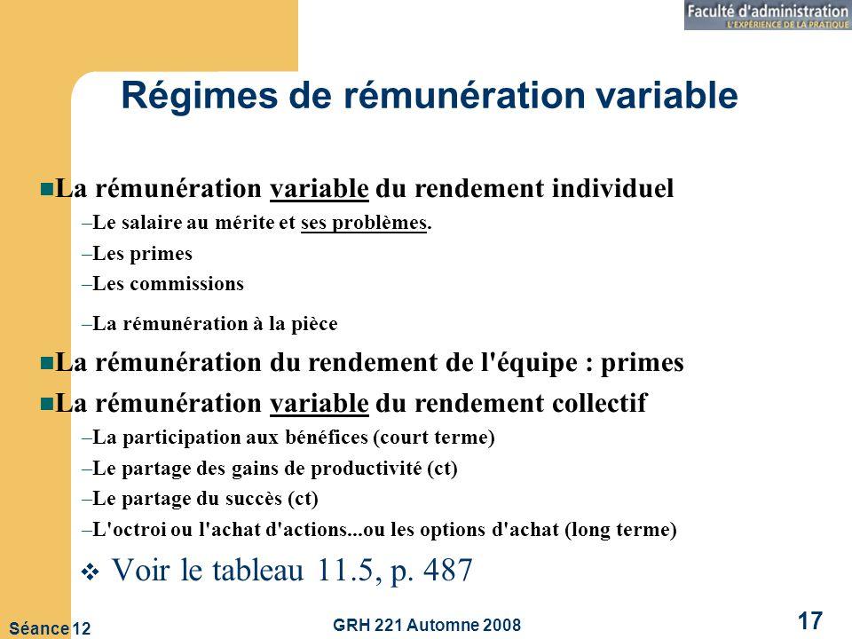 Régimes de rémunération variable