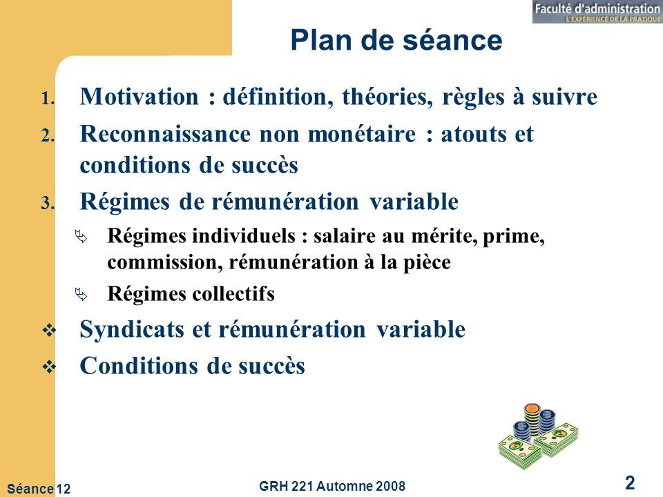 Plan de séance Motivation : définition, théories, règles à suivre