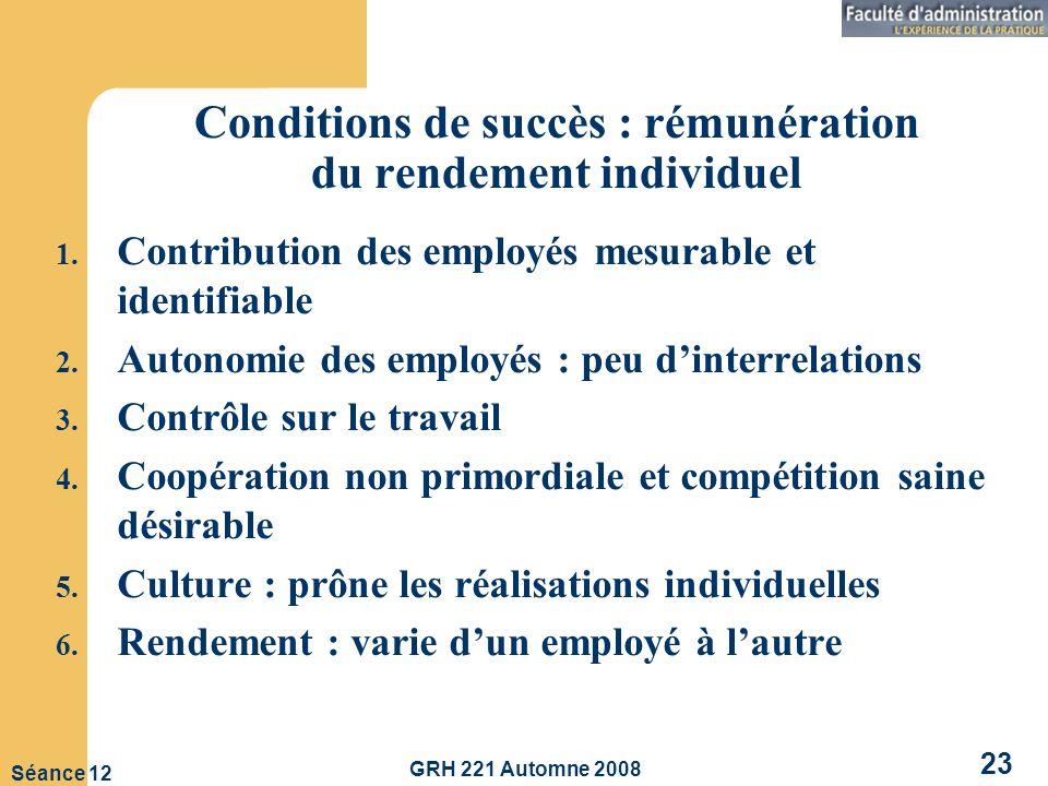 Conditions de succès : rémunération du rendement individuel