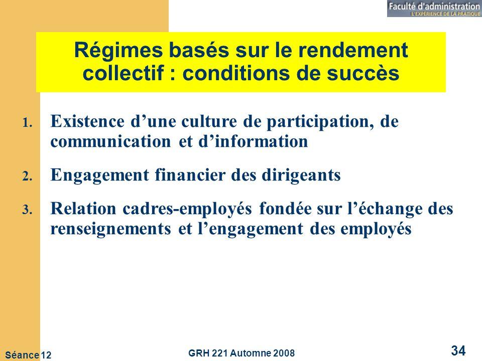 Régimes basés sur le rendement collectif : conditions de succès