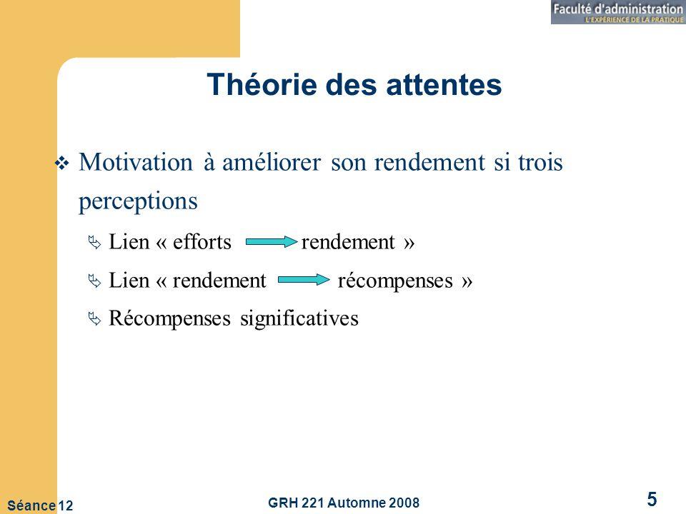 Théorie des attentes Motivation à améliorer son rendement si trois perceptions. Lien « efforts rendement »