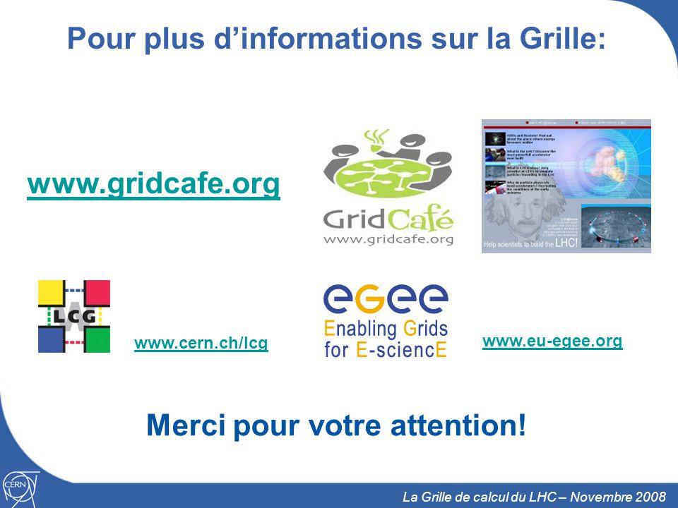 Pour plus d'informations sur la Grille: Merci pour votre attention!