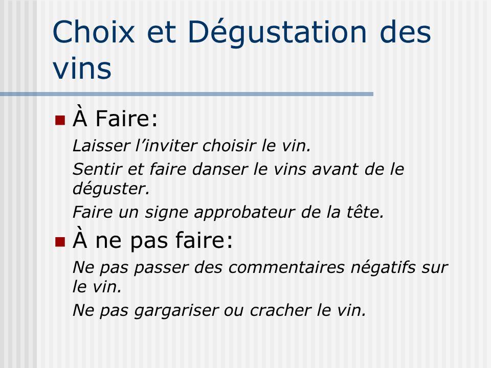 Choix et Dégustation des vins
