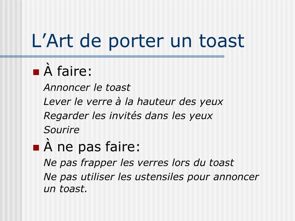 L'Art de porter un toast