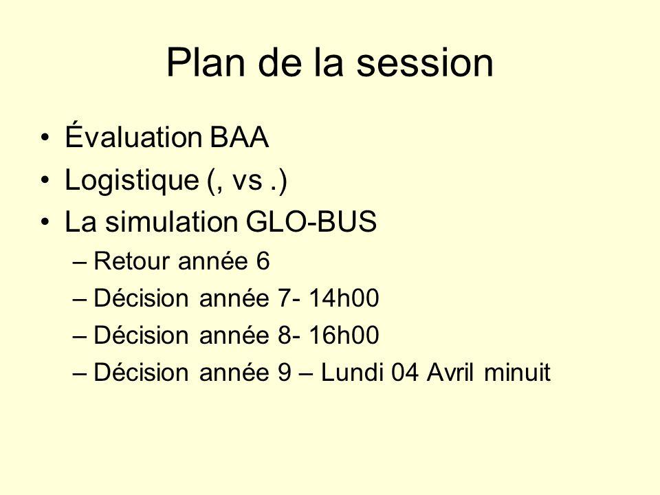 Plan de la session Évaluation BAA Logistique (, vs .)