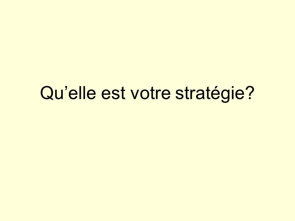 Qu'elle est votre stratégie