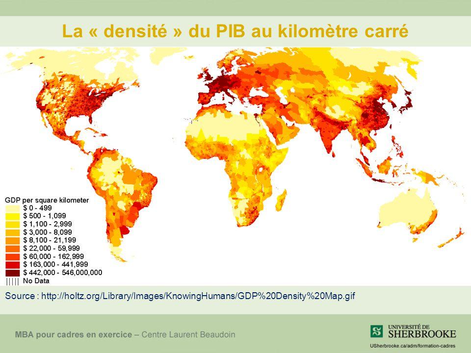 La « densité » du PIB au kilomètre carré