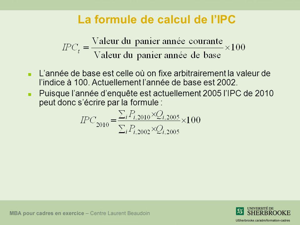 La formule de calcul de l'IPC