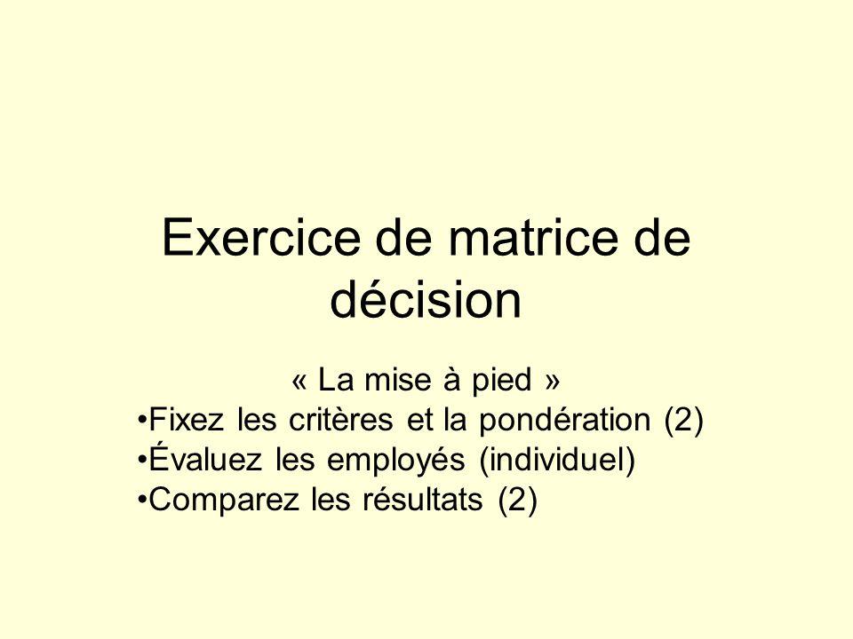 Exercice de matrice de décision