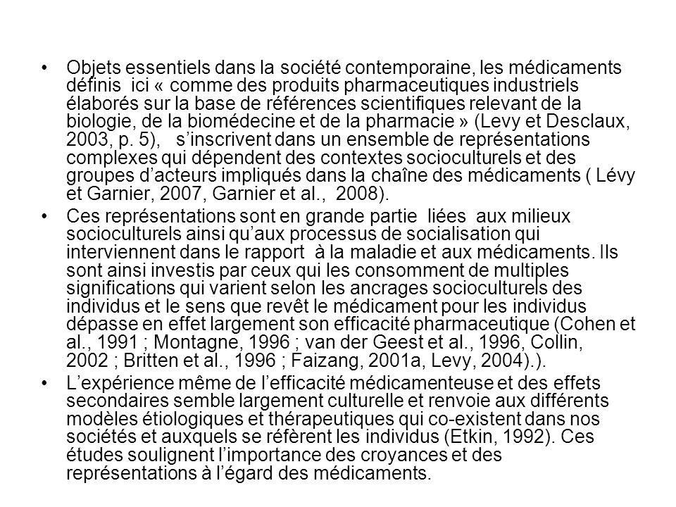 Objets essentiels dans la société contemporaine, les médicaments définis ici « comme des produits pharmaceutiques industriels élaborés sur la base de références scientifiques relevant de la biologie, de la biomédecine et de la pharmacie » (Levy et Desclaux, 2003, p. 5), s'inscrivent dans un ensemble de représentations complexes qui dépendent des contextes socioculturels et des groupes d'acteurs impliqués dans la chaîne des médicaments ( Lévy et Garnier, 2007, Garnier et al., 2008).