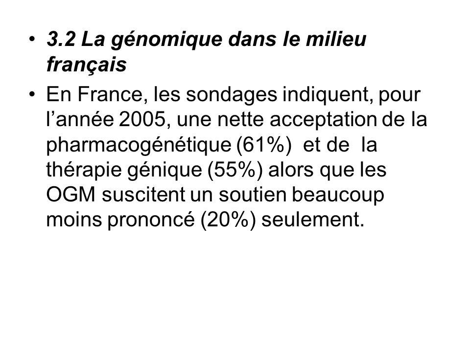 3.2 La génomique dans le milieu français