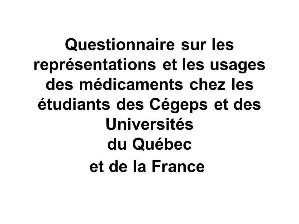 Questionnaire sur les représentations et les usages des médicaments chez les étudiants des Cégeps et des Universités du Québec