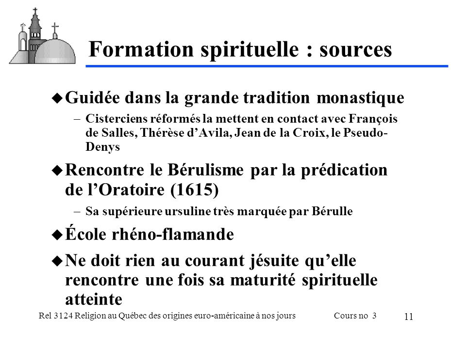 Formation spirituelle : sources