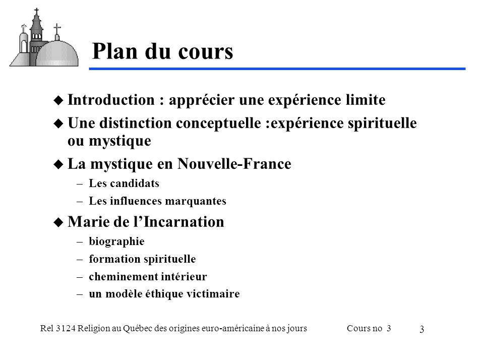 Plan du cours Introduction : apprécier une expérience limite