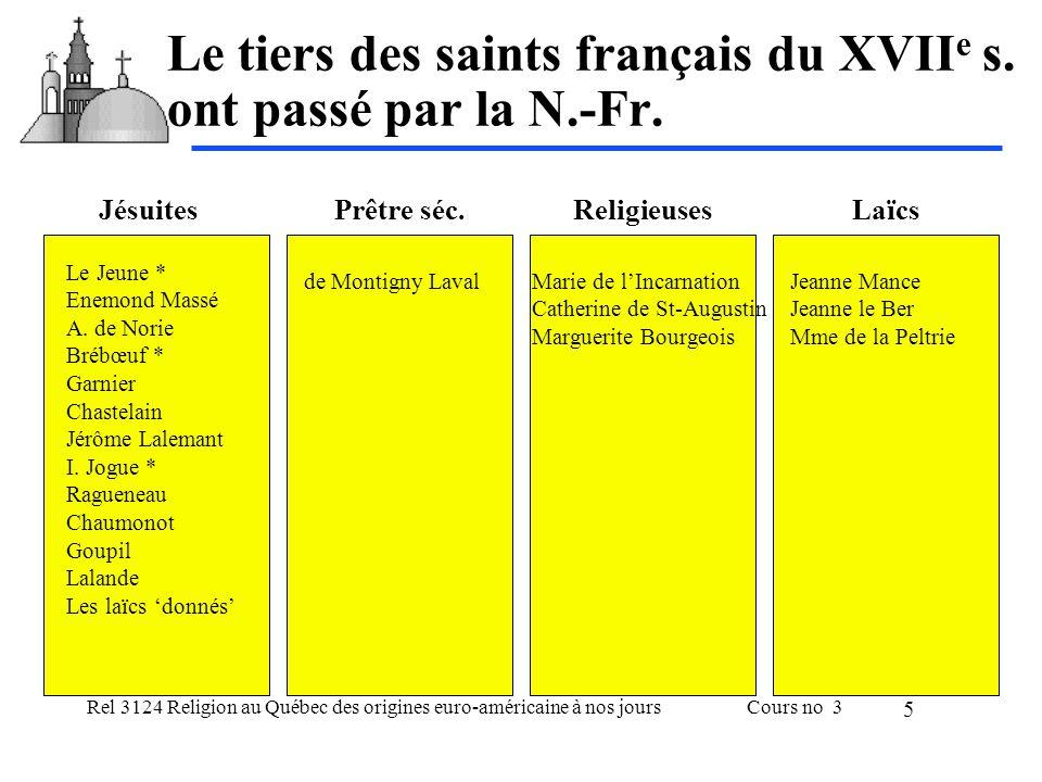 Le tiers des saints français du XVIIe s. ont passé par la N.-Fr.