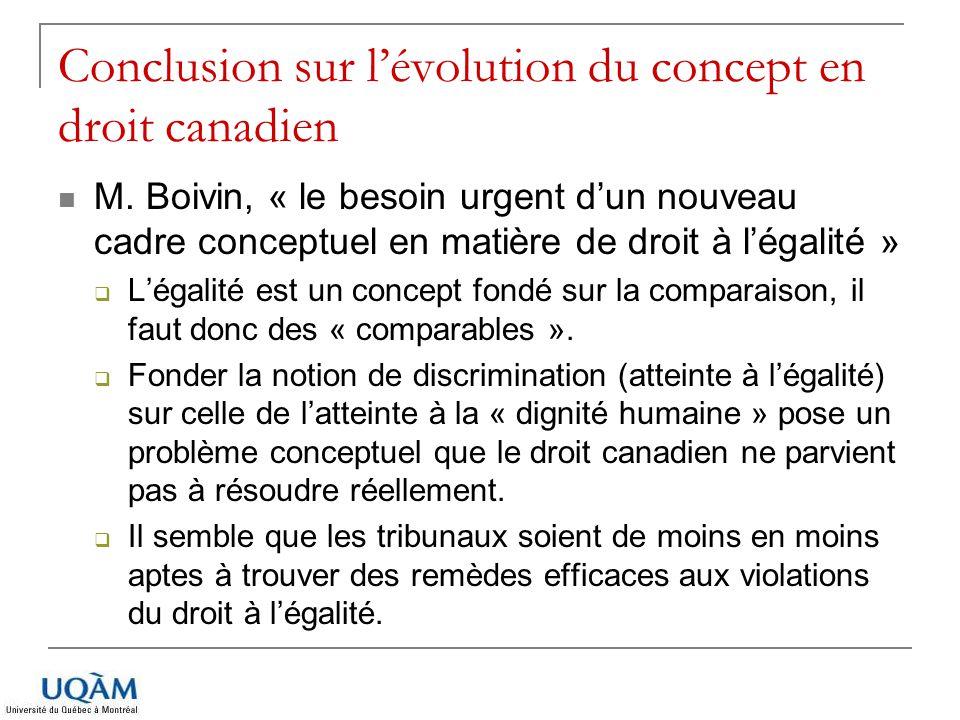Conclusion sur l'évolution du concept en droit canadien