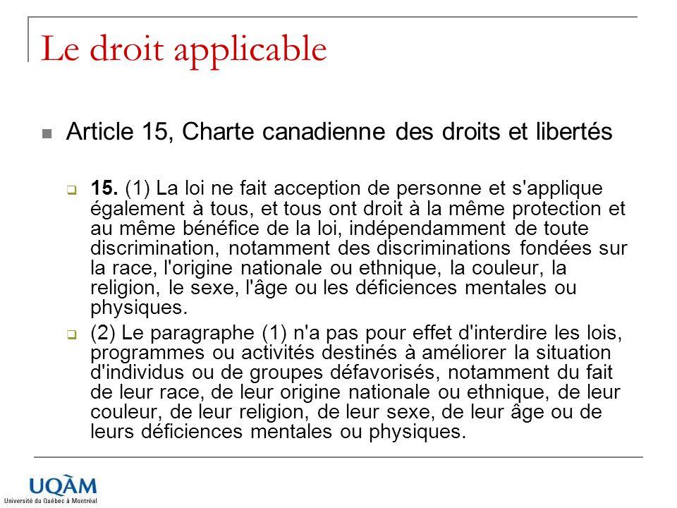 Le droit applicable Article 15, Charte canadienne des droits et libertés.