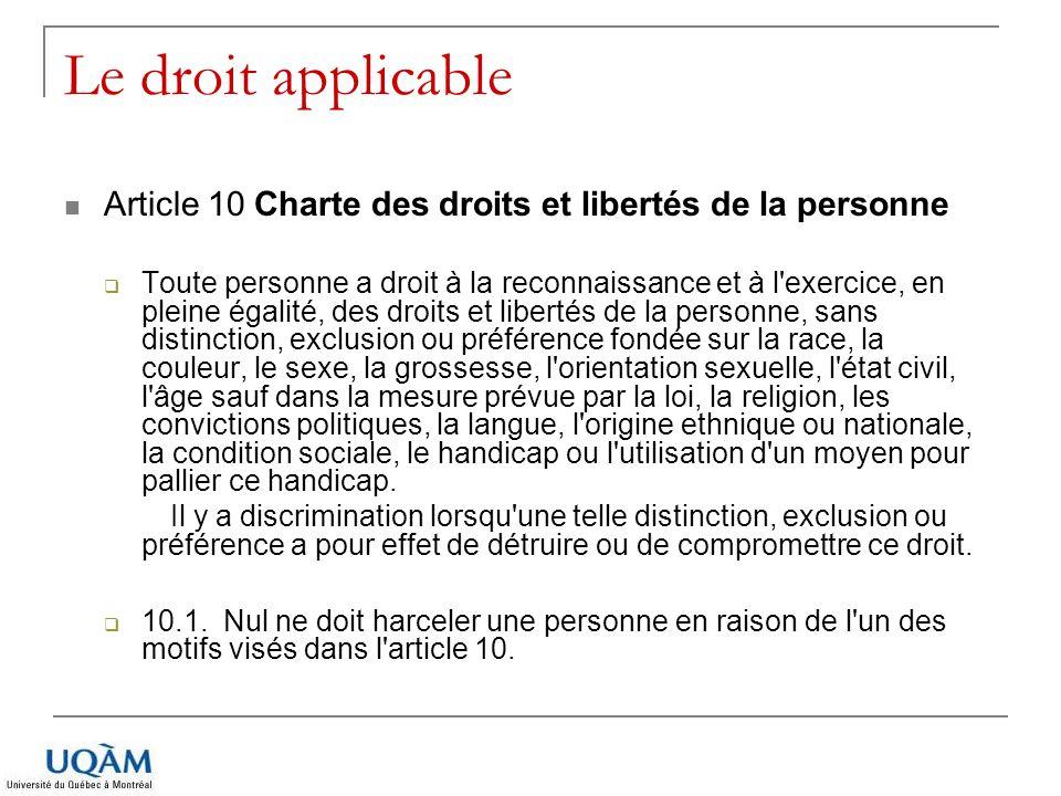 Le droit applicable Article 10 Charte des droits et libertés de la personne.