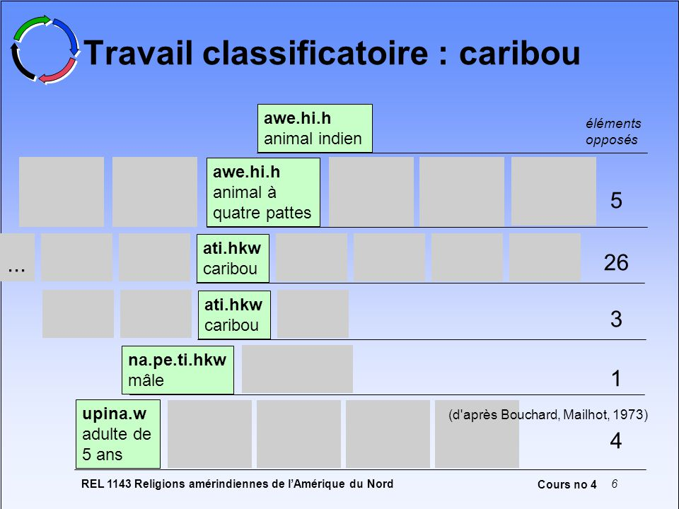 Travail classificatoire : caribou