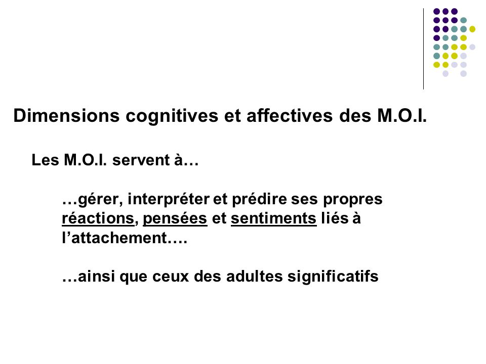 Dimensions cognitives et affectives des M.O.I.