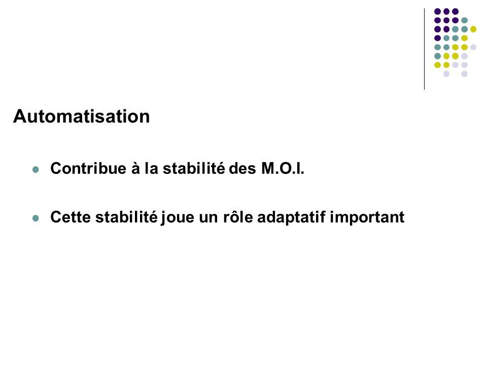 Automatisation Contribue à la stabilité des M.O.I.