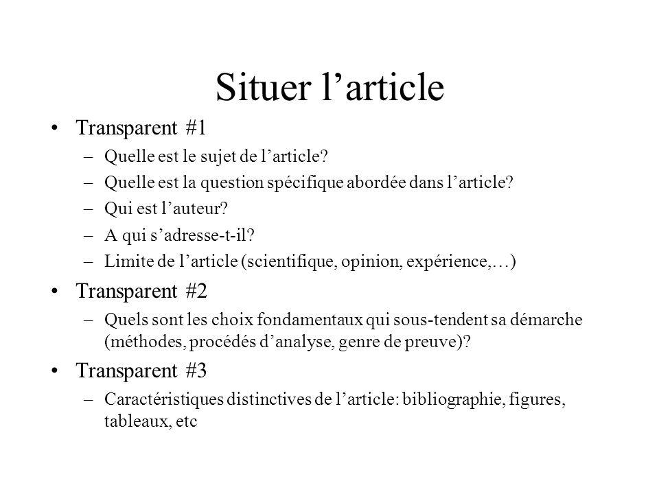 Situer l'article Transparent #1 Transparent #2 Transparent #3