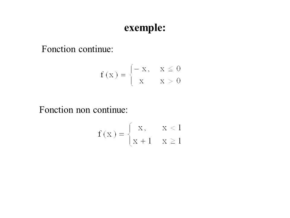 exemple: Fonction continue: Fonction non continue:
