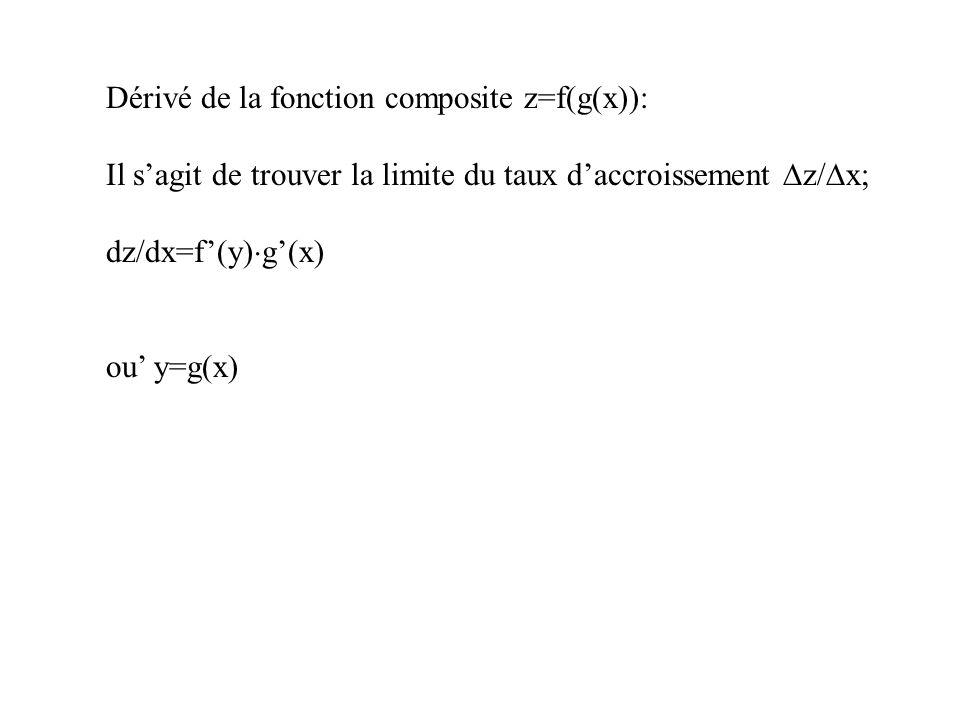 Dérivé de la fonction composite z=f(g(x)):