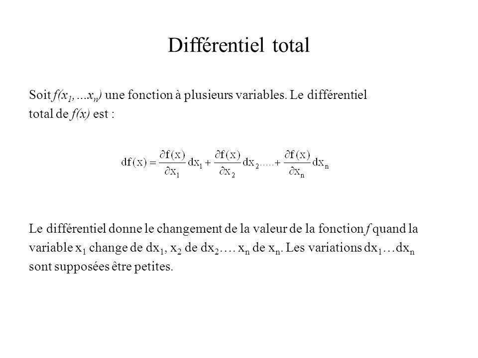Différentiel total Soit f(x1,…xn) une fonction à plusieurs variables. Le différentiel. total de f(x) est :