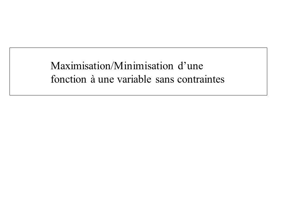 Maximisation/Minimisation d'une
