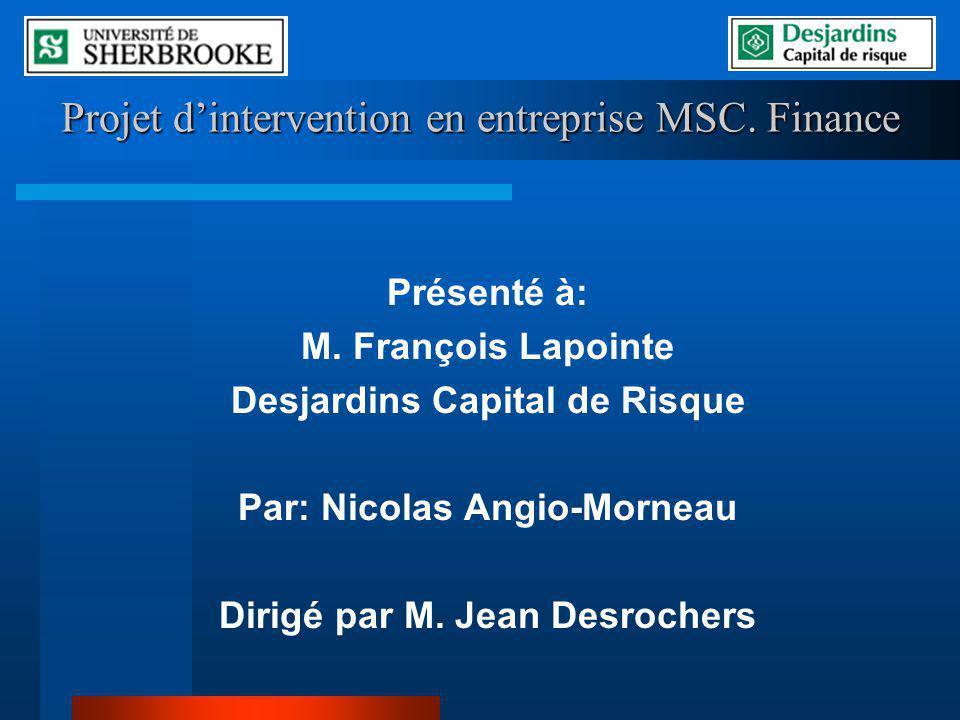 Projet d'intervention en entreprise MSC. Finance