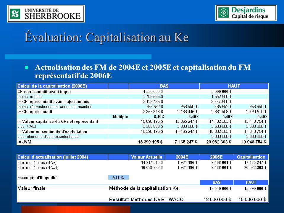Évaluation: Capitalisation au Ke