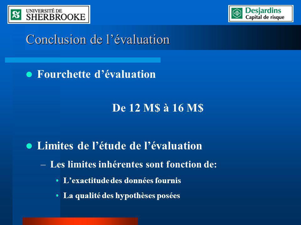 Conclusion de l'évaluation