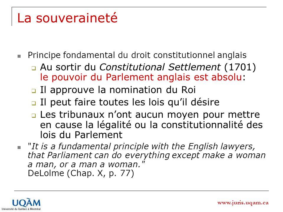 La souveraineté Principe fondamental du droit constitutionnel anglais.
