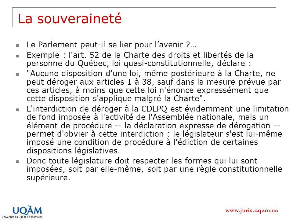 La souveraineté Le Parlement peut-il se lier pour l'avenir …