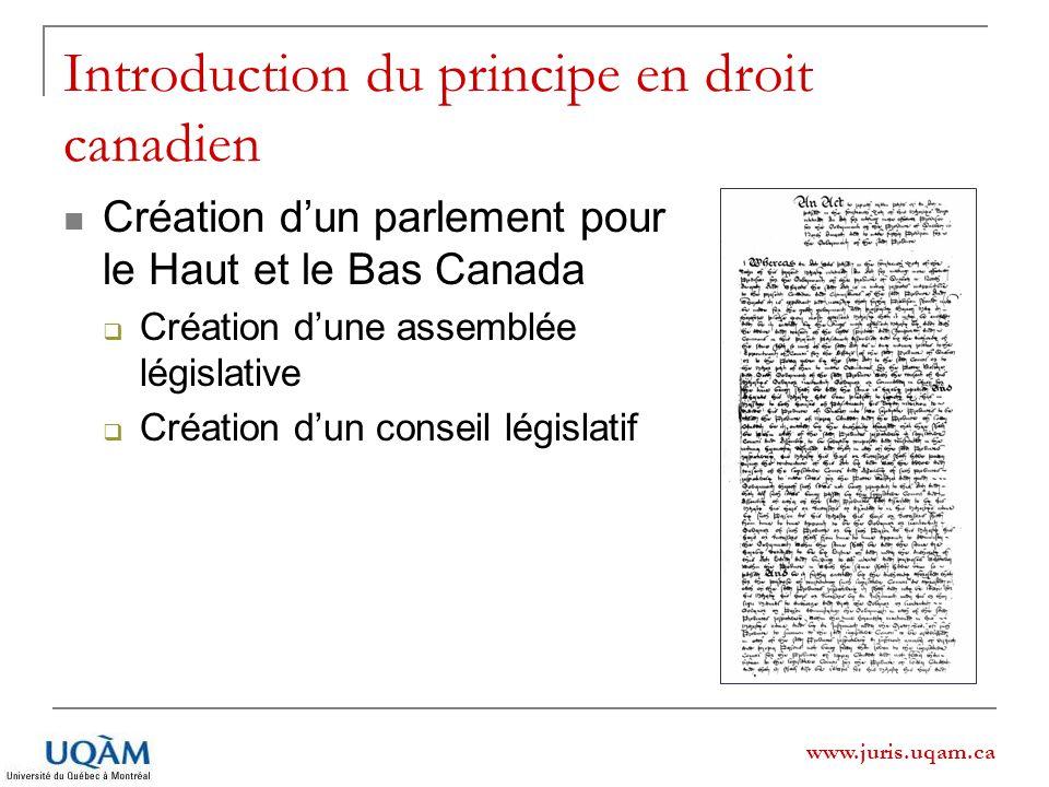 Introduction du principe en droit canadien