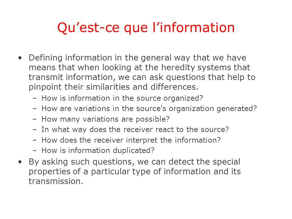 Qu'est-ce que l'information