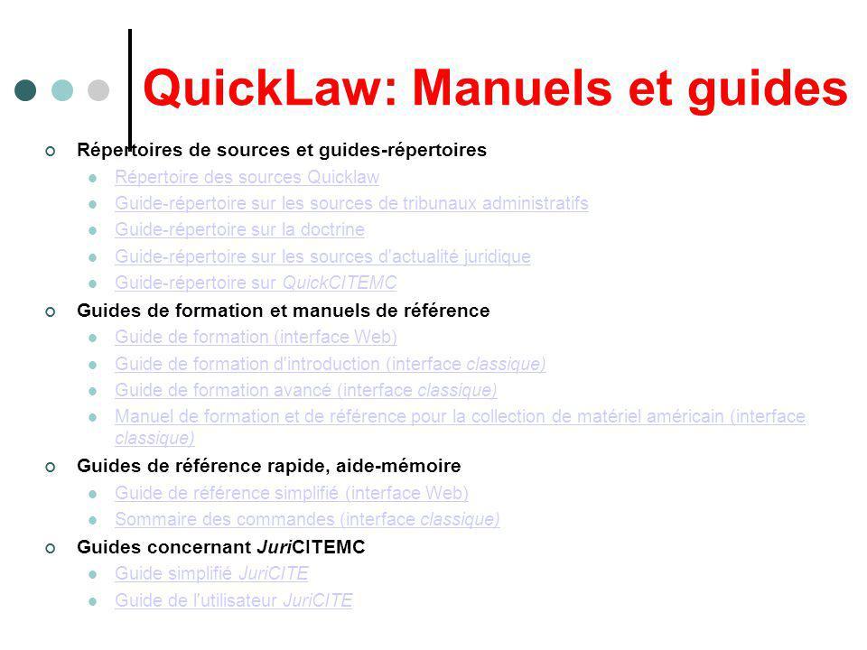 QuickLaw: Manuels et guides