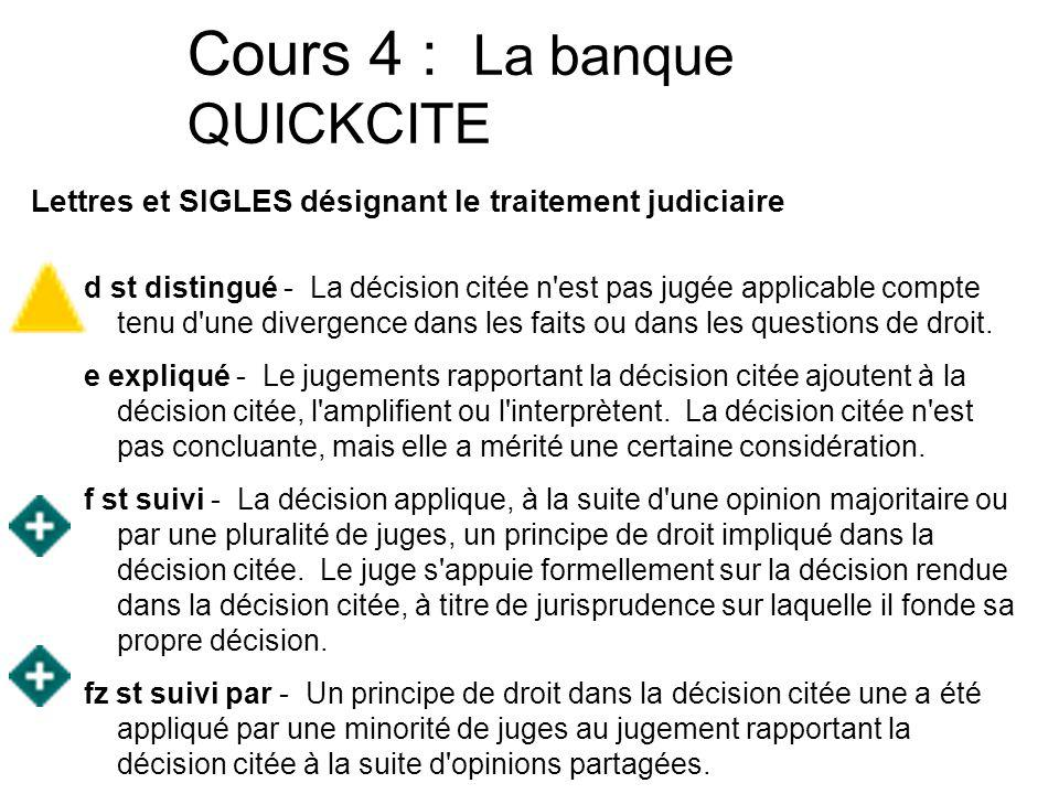 Cours 4 : La banque QUICKCITE