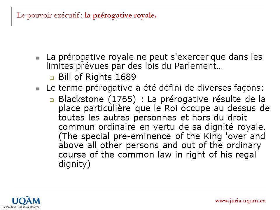 Le pouvoir exécutif : la prérogative royale.