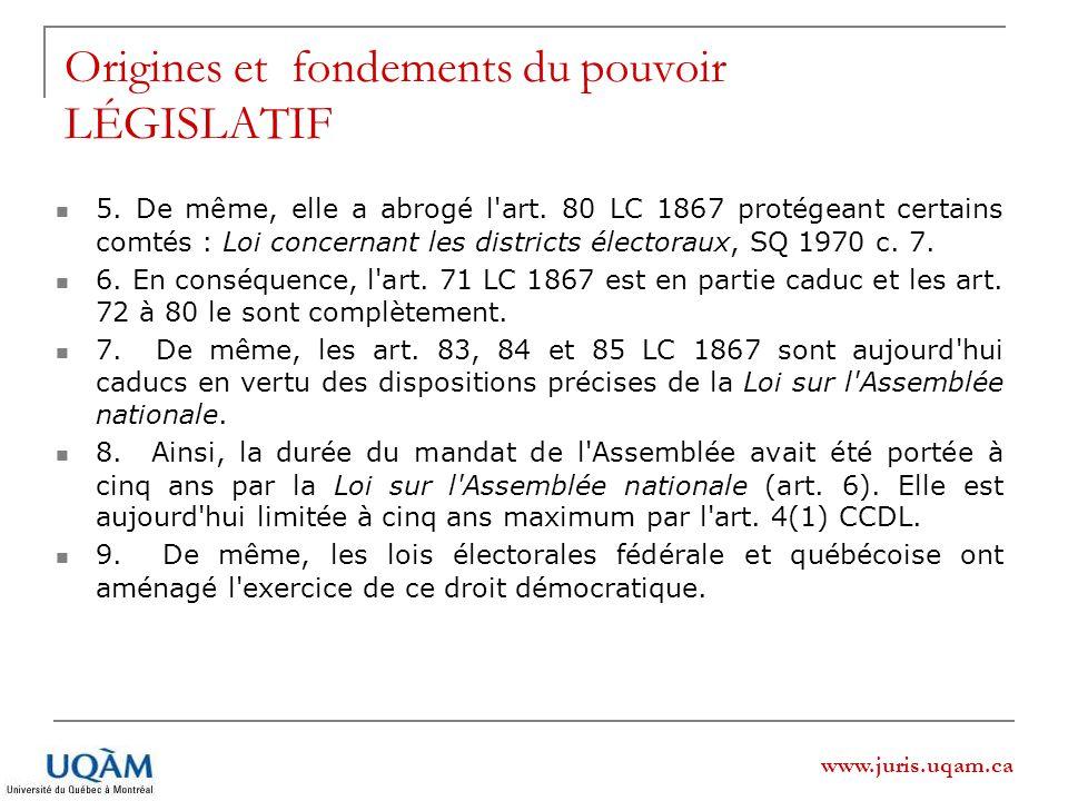 Origines et fondements du pouvoir LÉGISLATIF