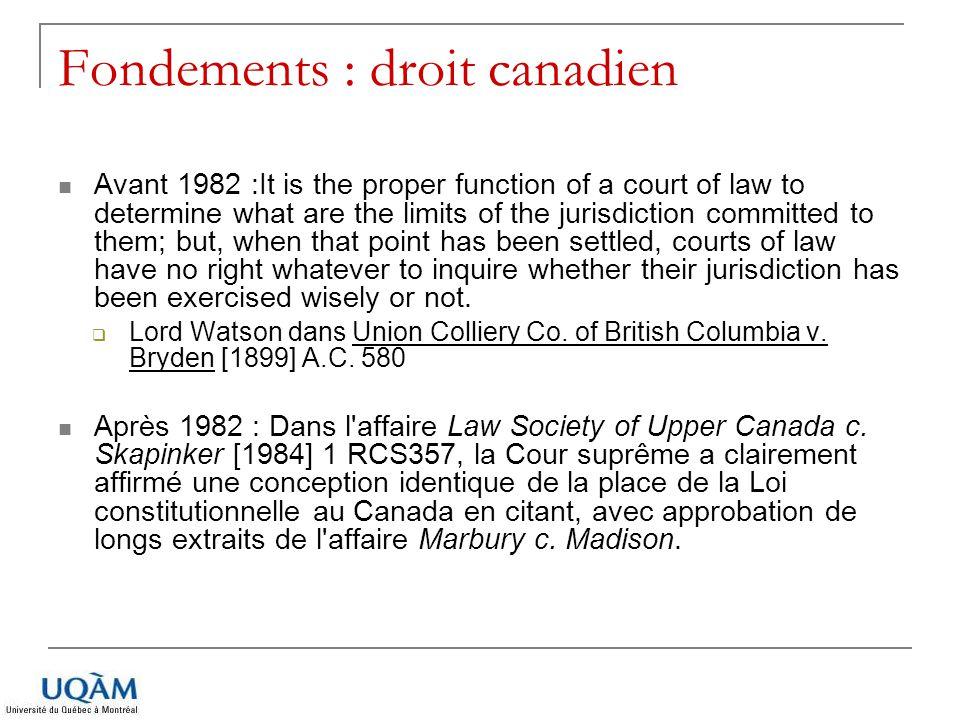 Fondements : droit canadien