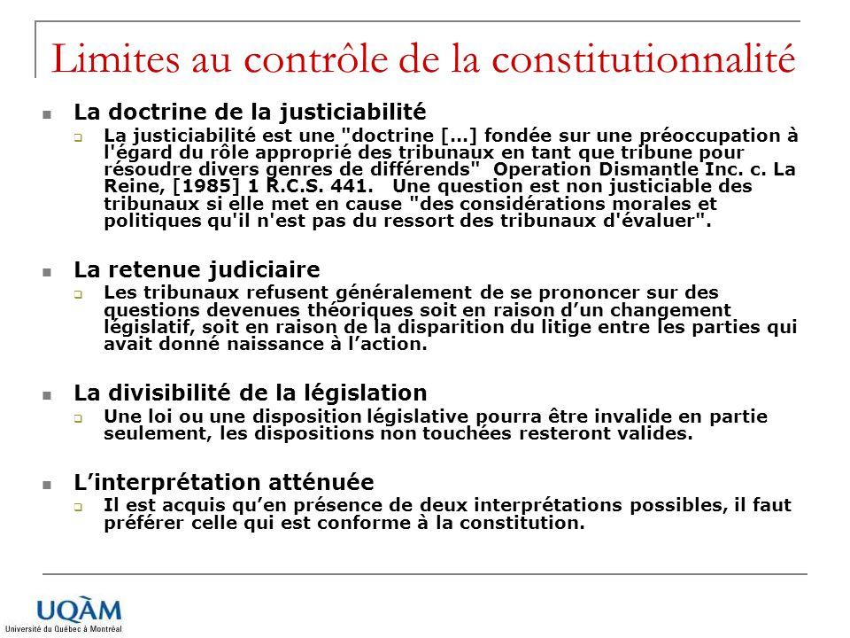 Limites au contrôle de la constitutionnalité