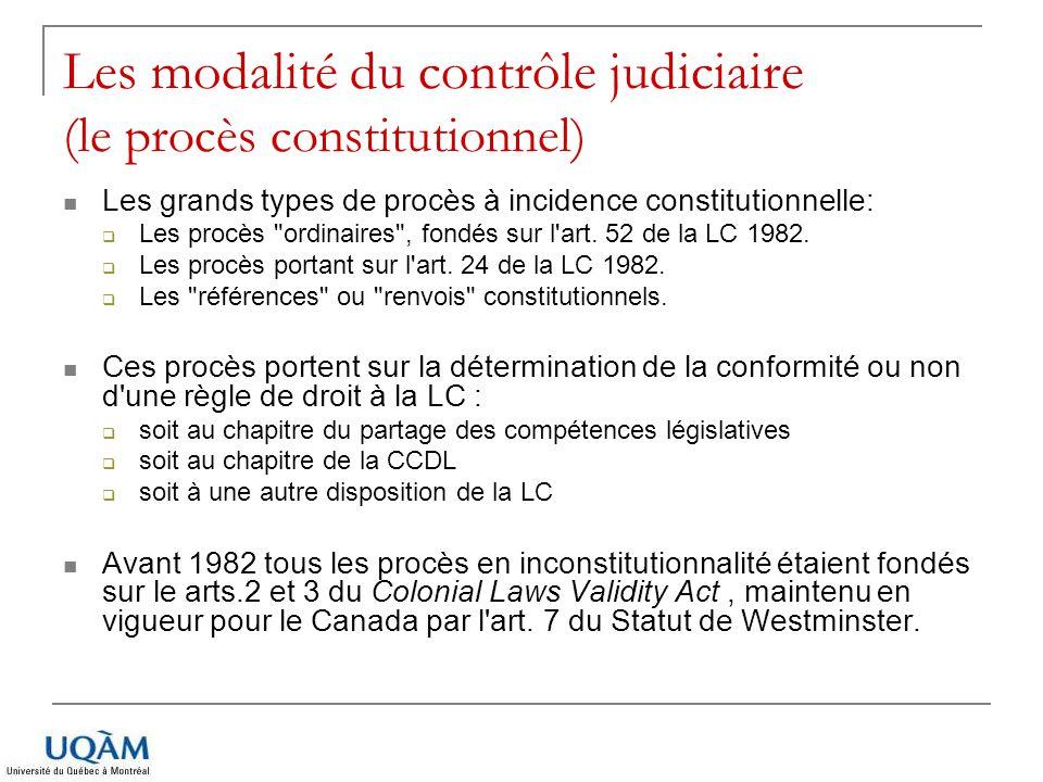 Les modalité du contrôle judiciaire (le procès constitutionnel)