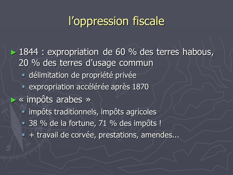 l'oppression fiscale 1844 : expropriation de 60 % des terres habous, 20 % des terres d'usage commun.