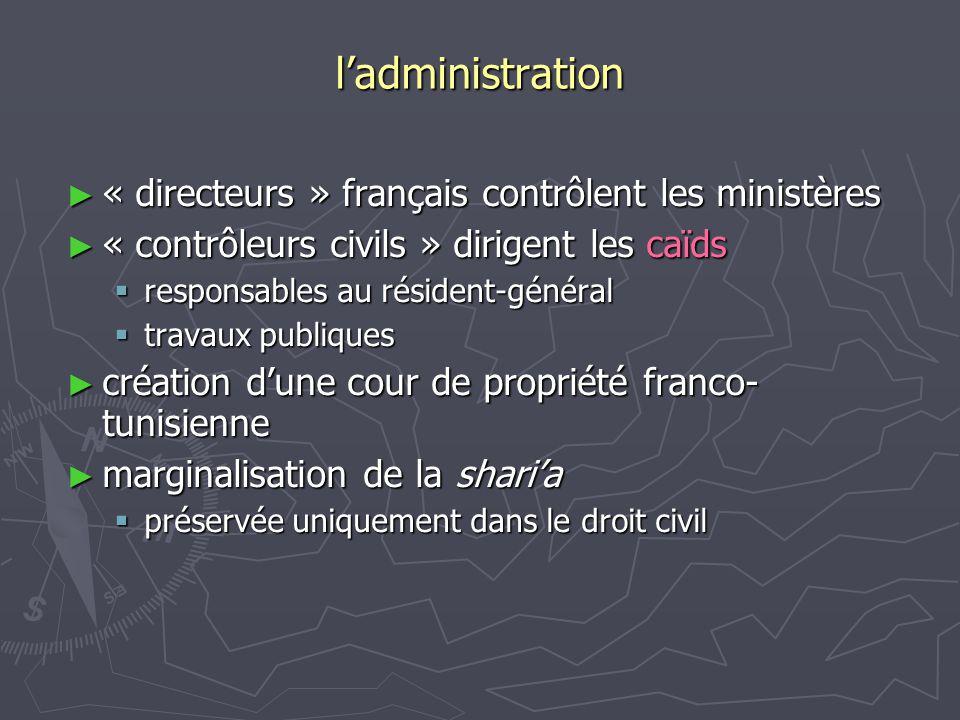l'administration « directeurs » français contrôlent les ministères