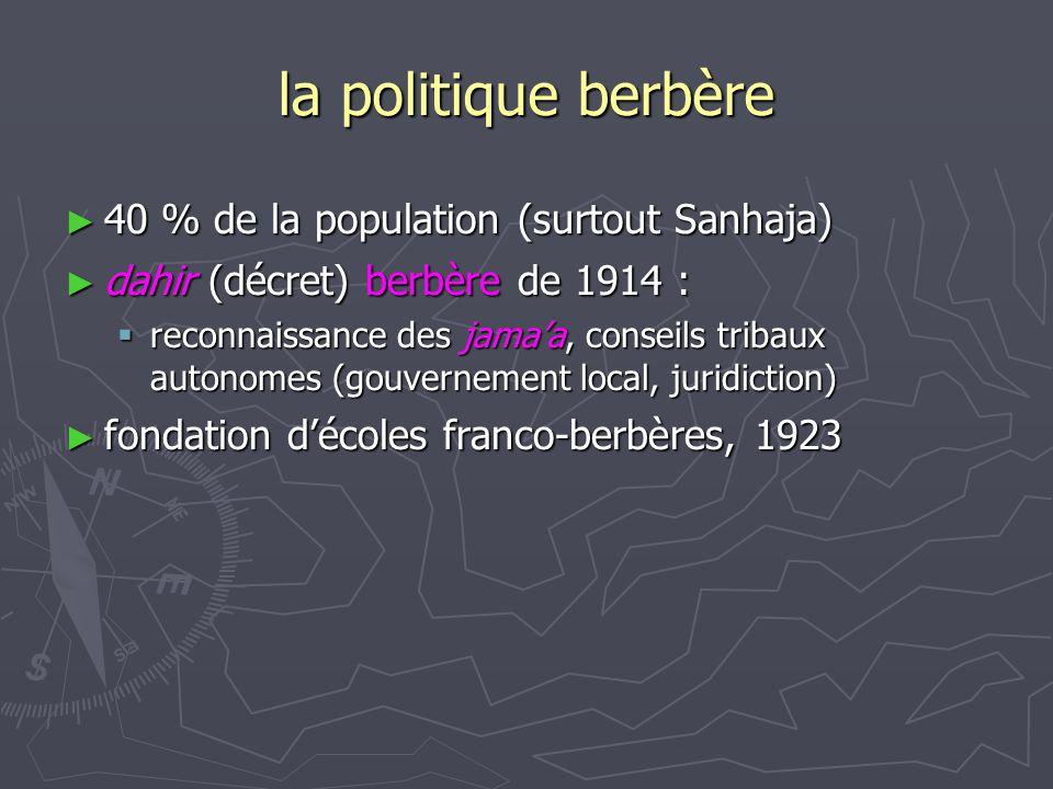 la politique berbère 40 % de la population (surtout Sanhaja)