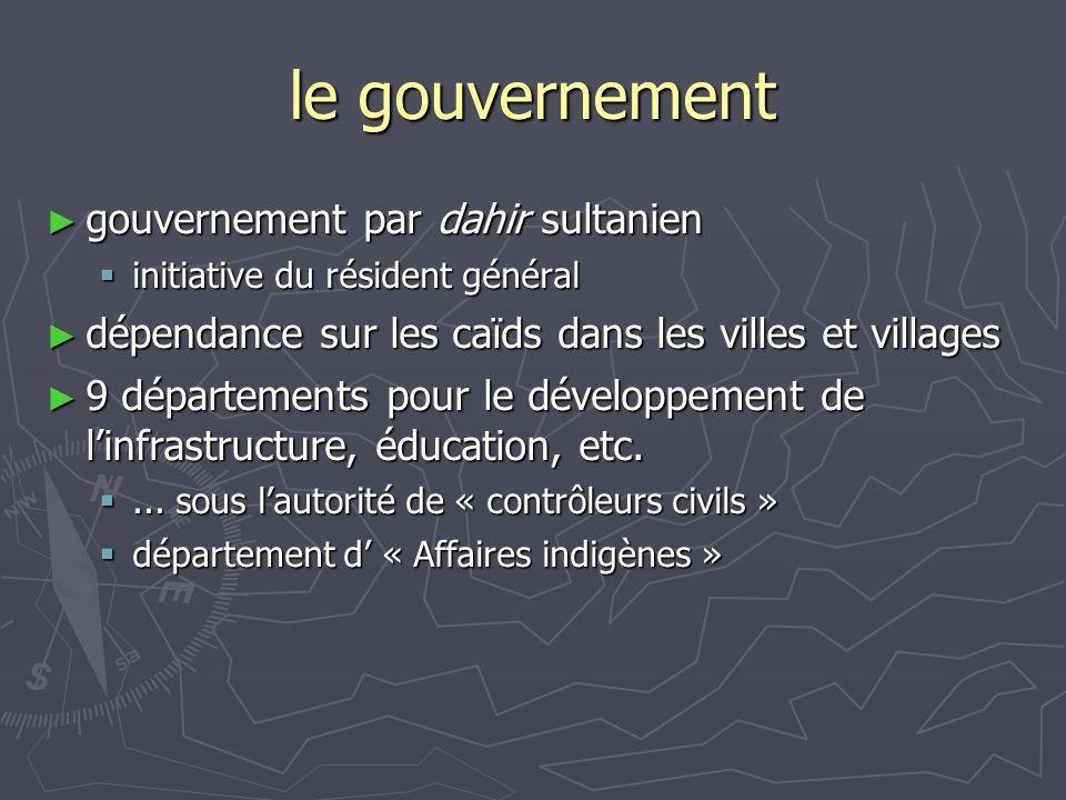 le gouvernement gouvernement par dahir sultanien