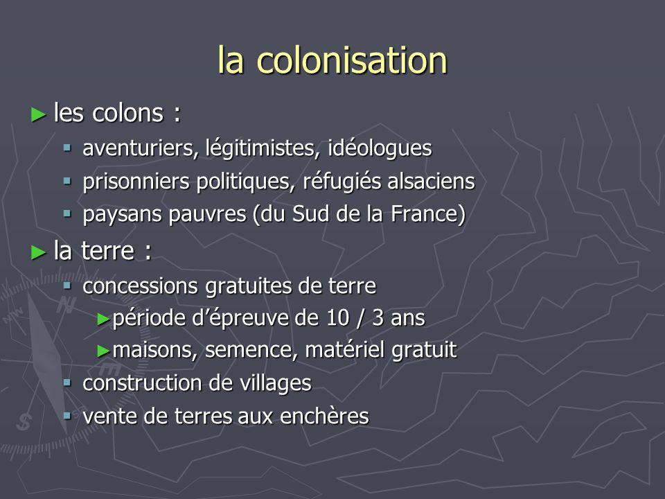 la colonisation les colons : la terre :