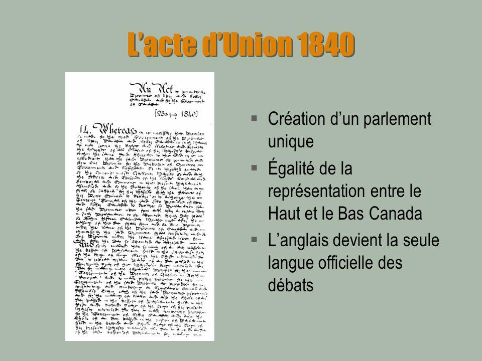 L'acte d'Union 1840 Création d'un parlement unique